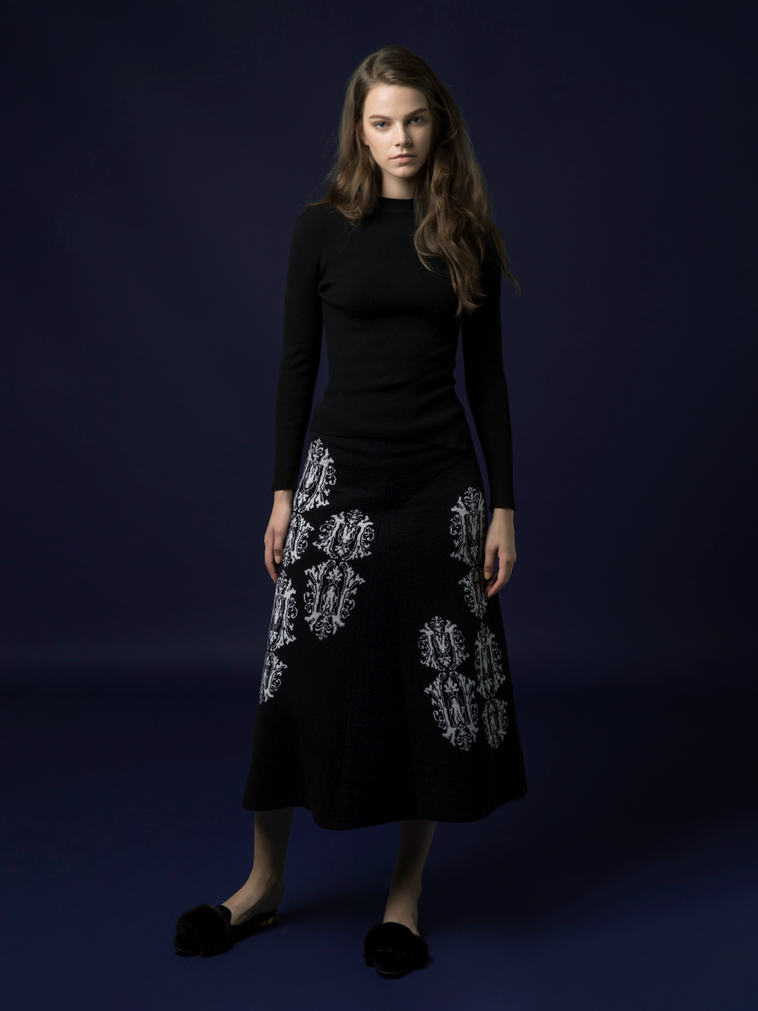 Jacquard Flare Long Skirt