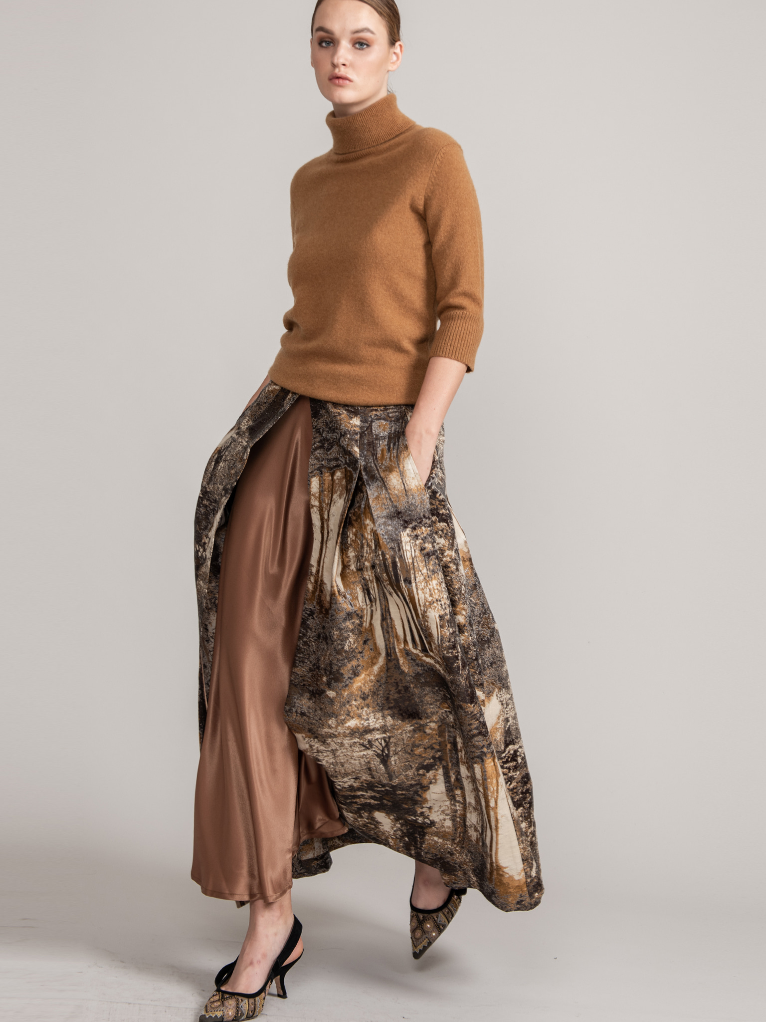 ITALY Jacquard Long Skirt #Brown