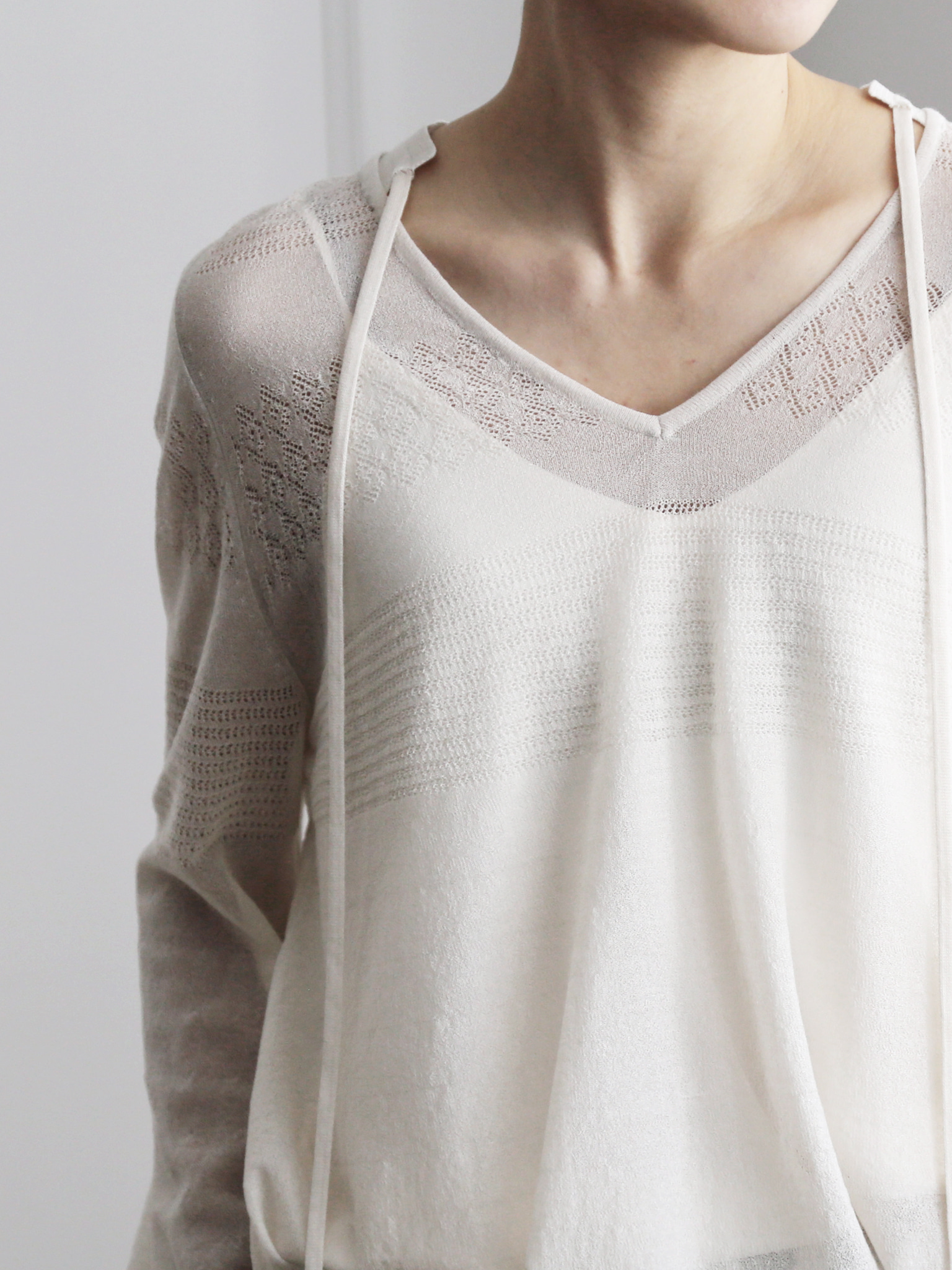 -MARE DI MARI.m-  Seethrough Knit Pullover + Slip Top SET.