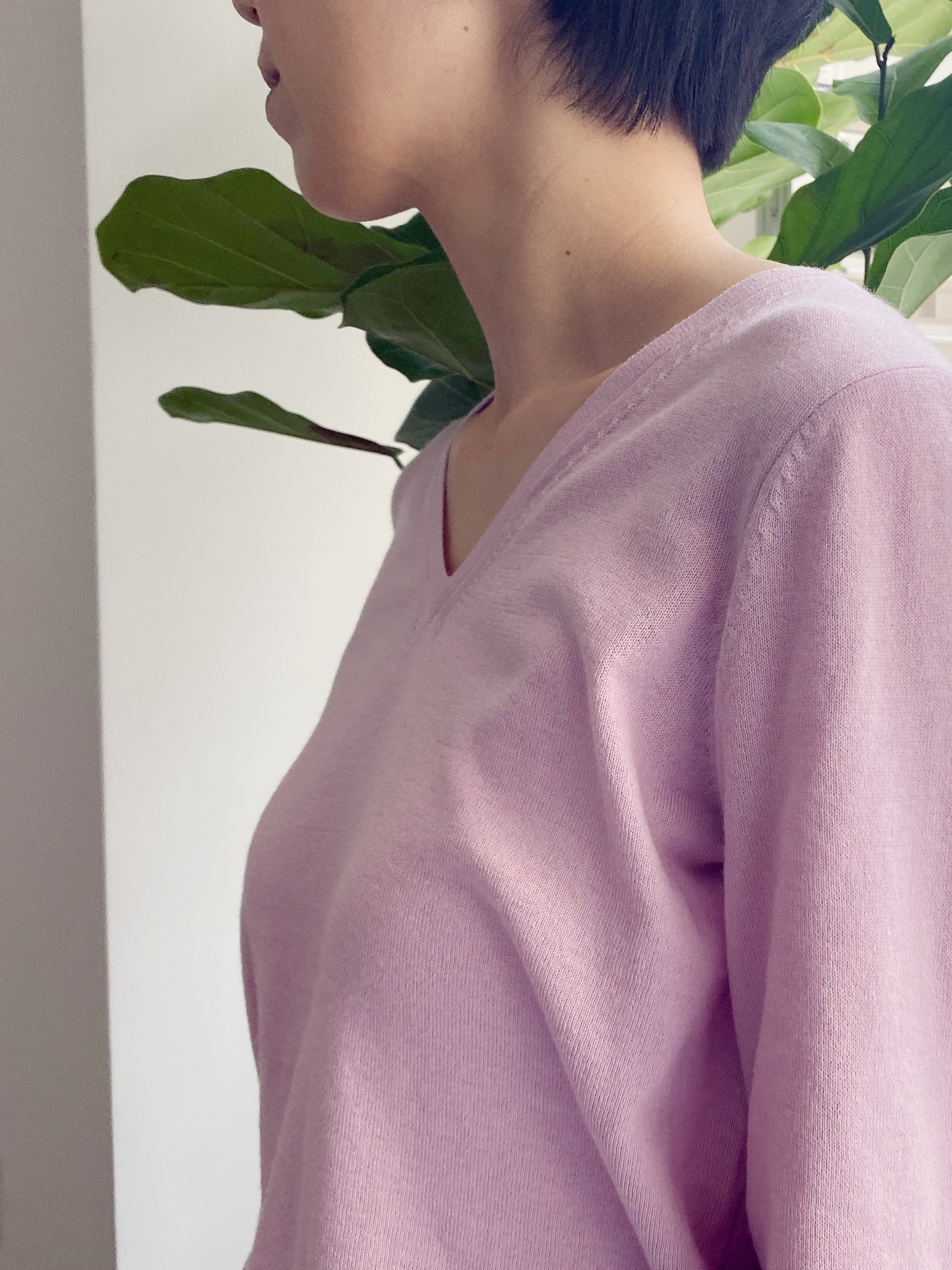 Back String Detail V Neck Pullover