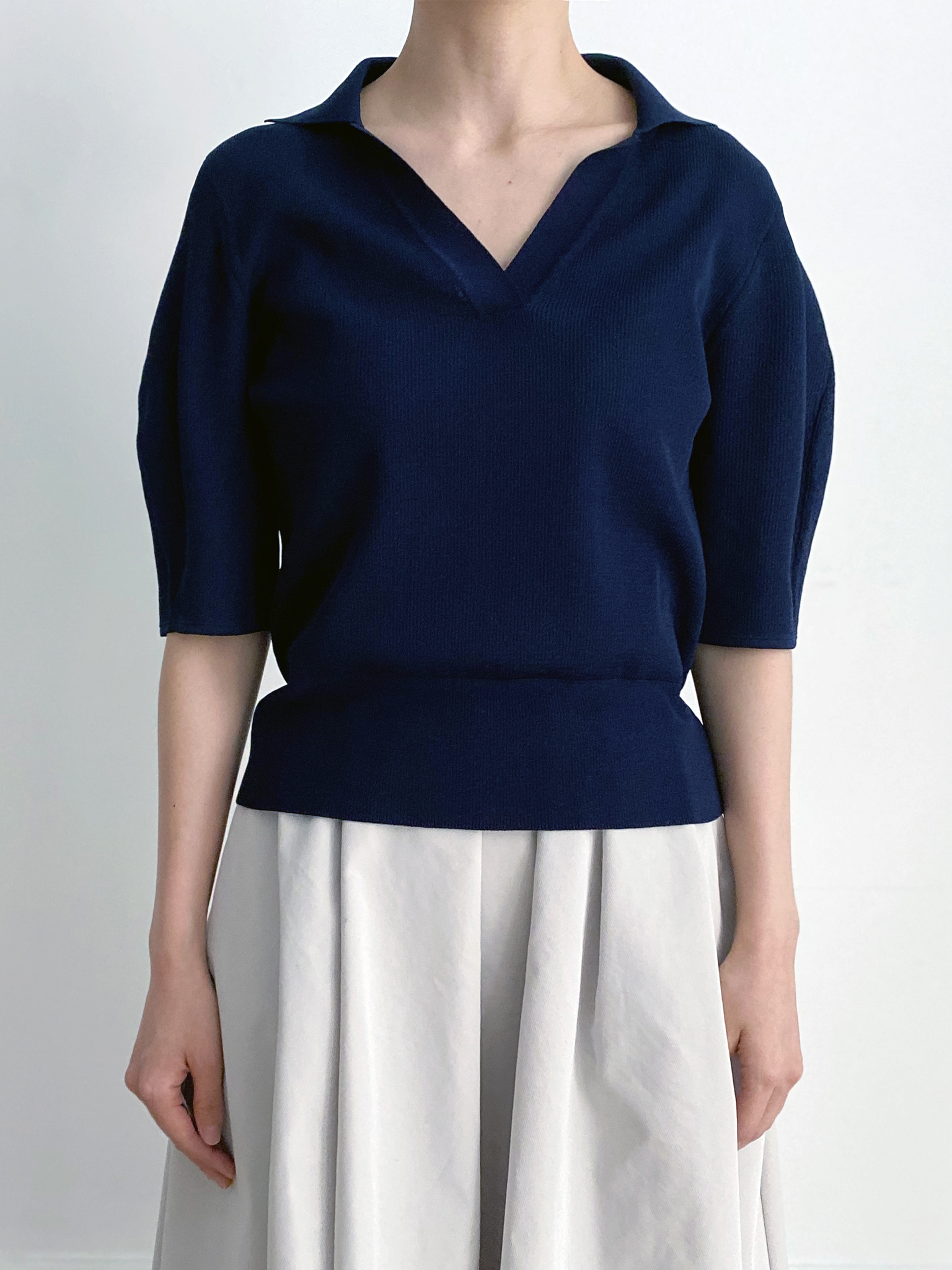 -MARE DI MARI.m- Short Balloon Sleeve Open Collar Knit