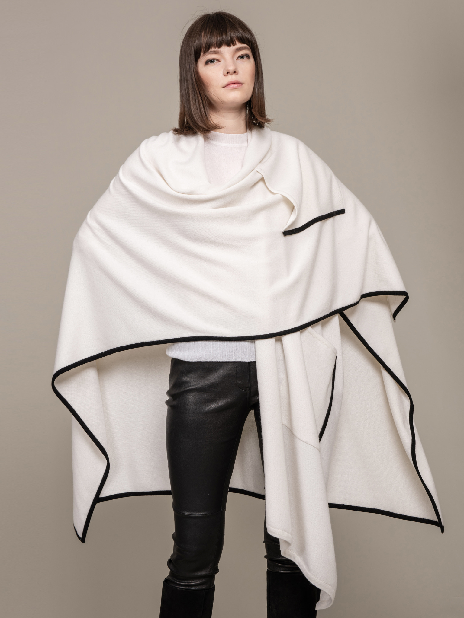Line Detail Drape Cape
