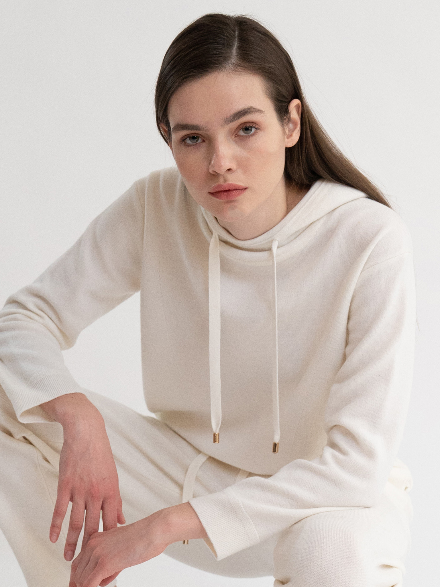 KKLL COLLECTION / PREMIUM BASIC KNIT HOODIE_WHITE