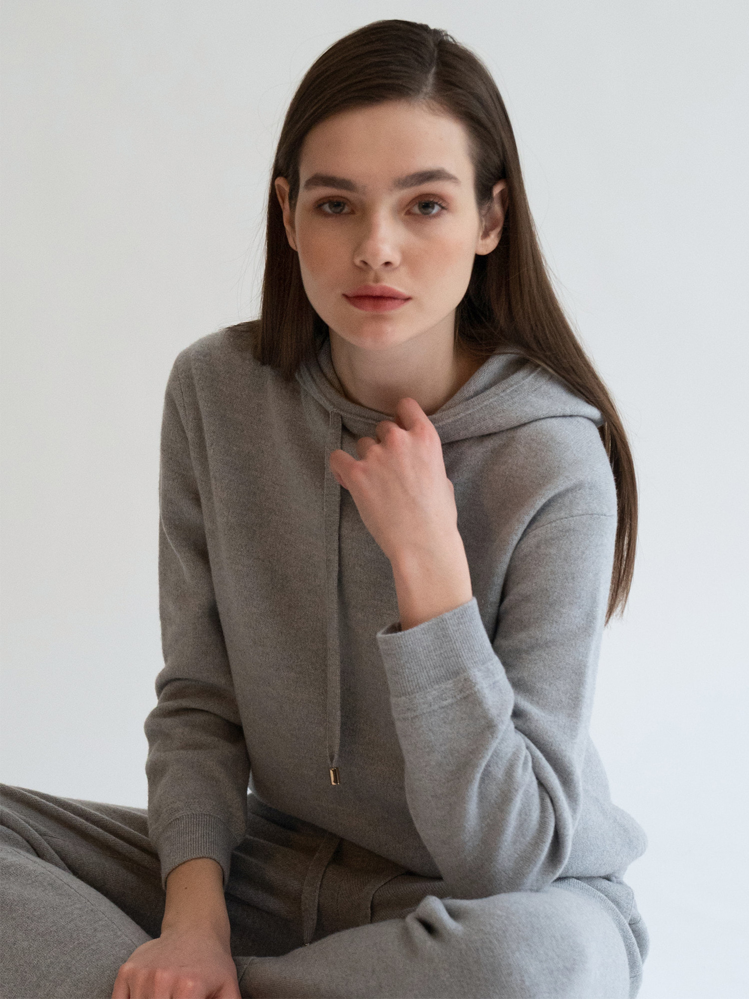 KKLL COLLECTION / PREMIUM BASIC KNIT HOODIE_GREY