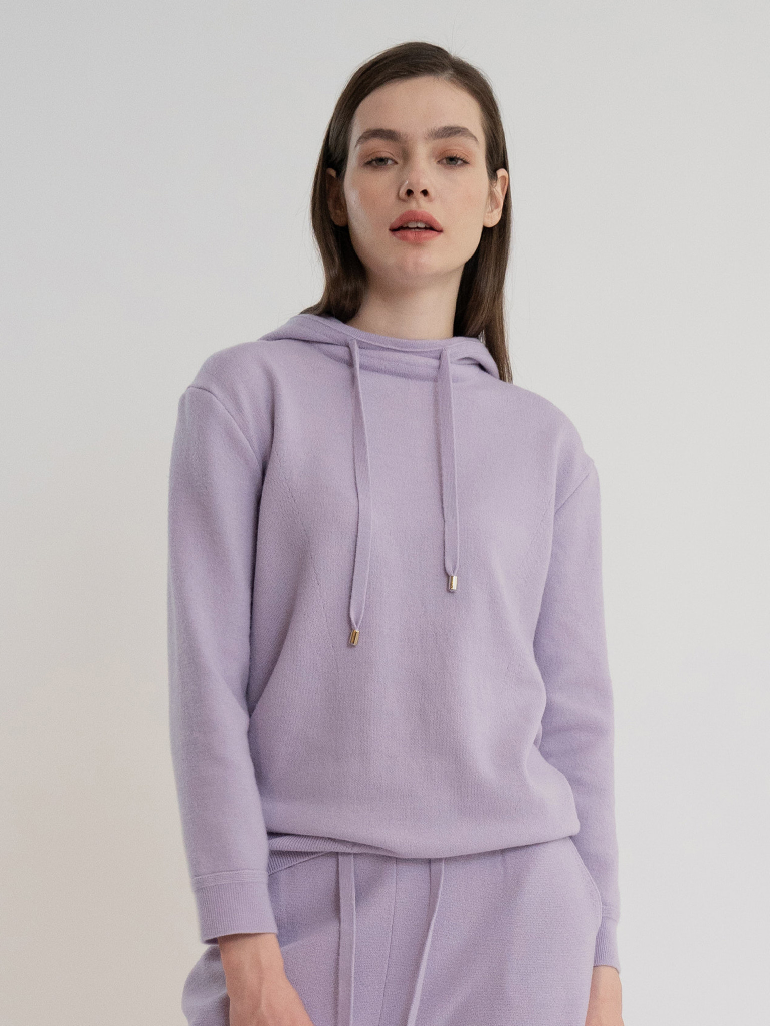 KKLL COLLECTION / PREMIUM BASIC KNIT HOODIE_VIOLET