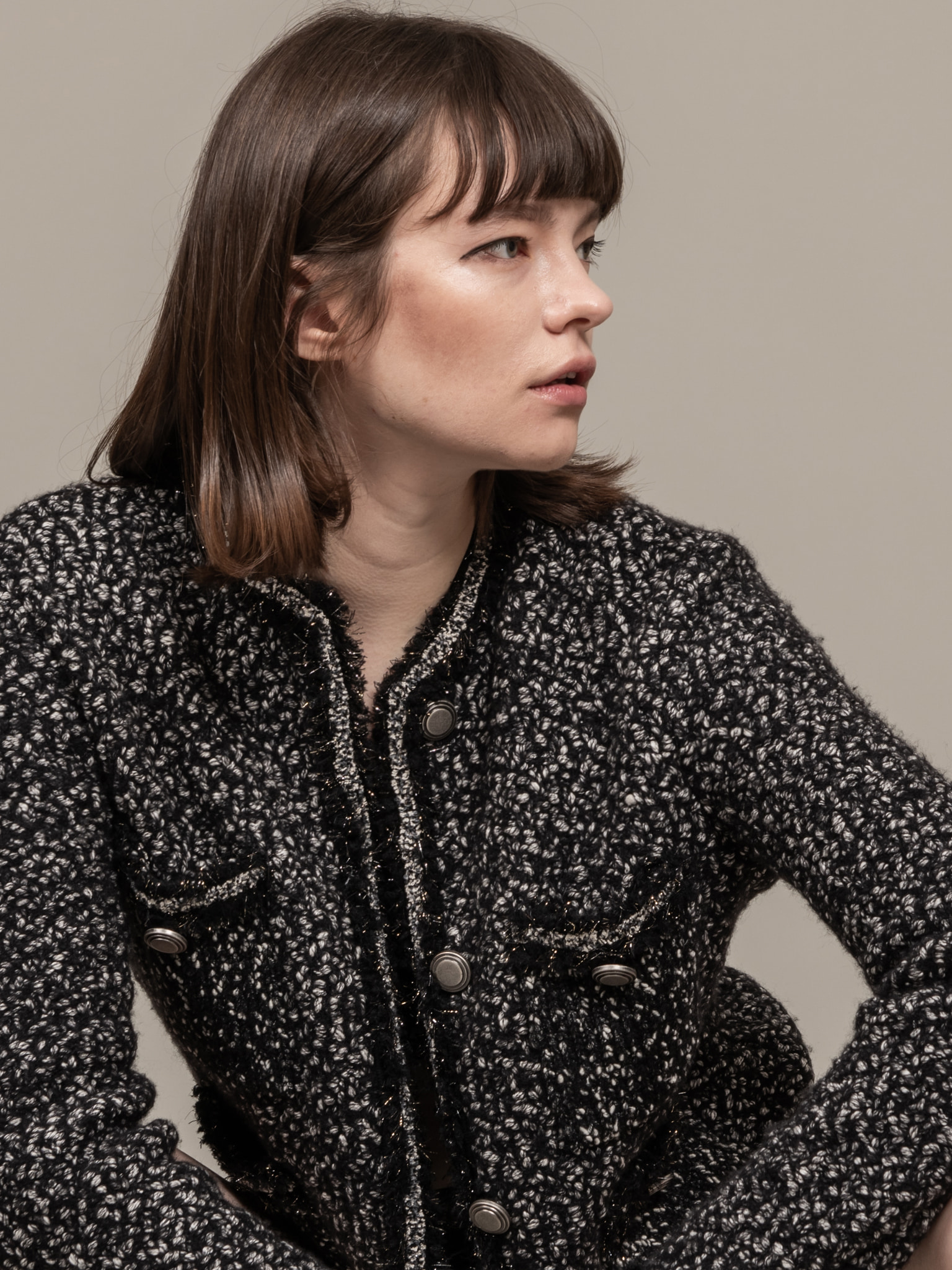 Tweed Knit Short Jacket