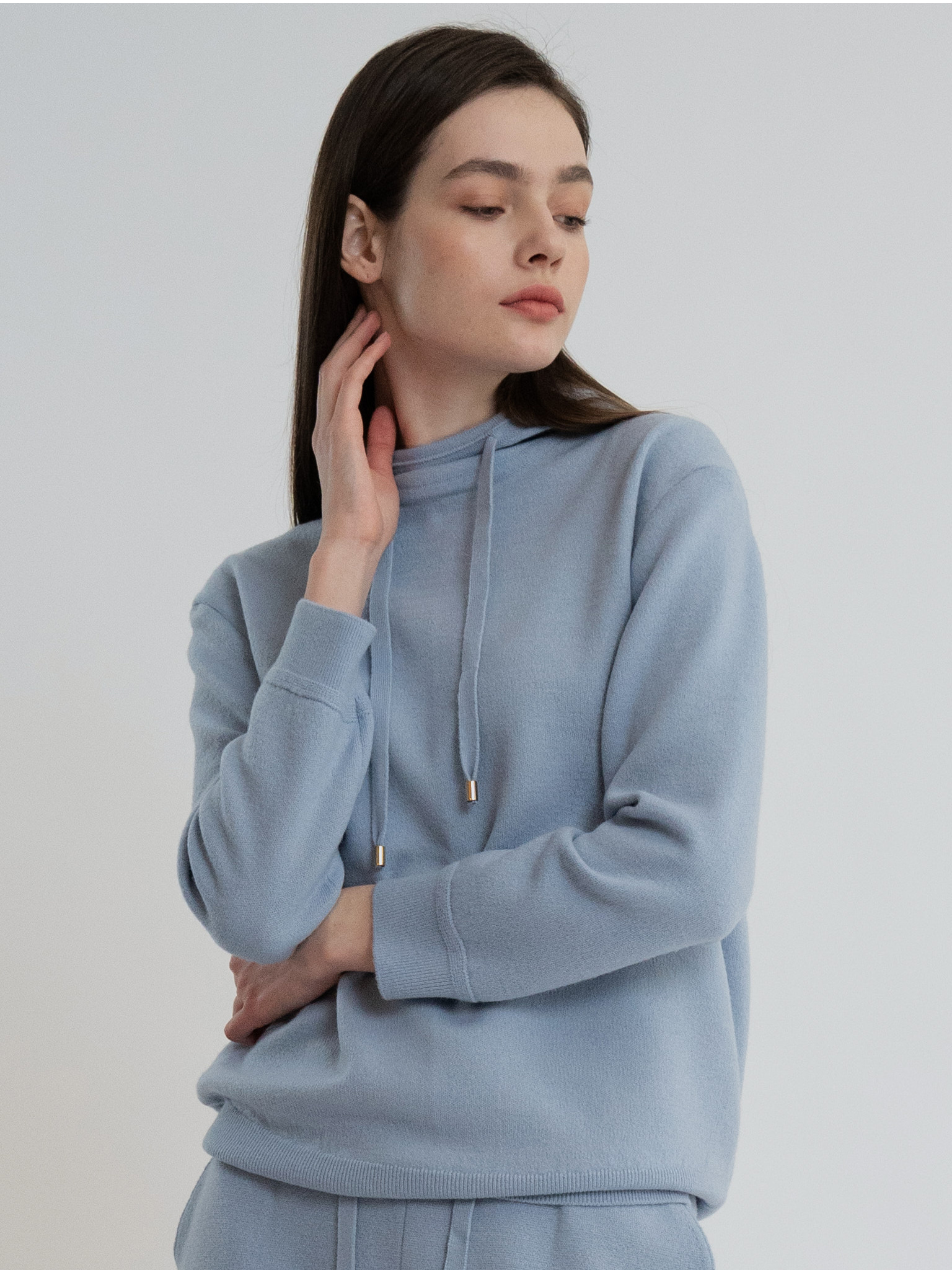 KKLL COLLECTION / PREMIUM BASIC KNIT HOODIE_BLUE